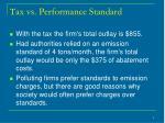 tax vs performance standard
