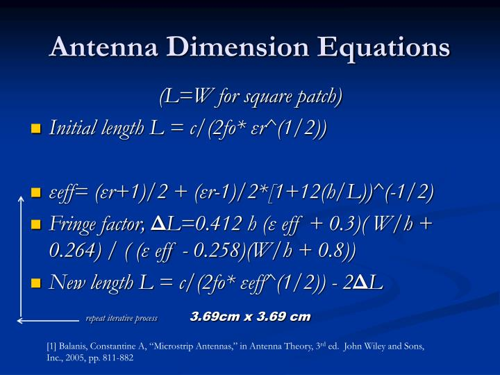Antenna Dimension Equations