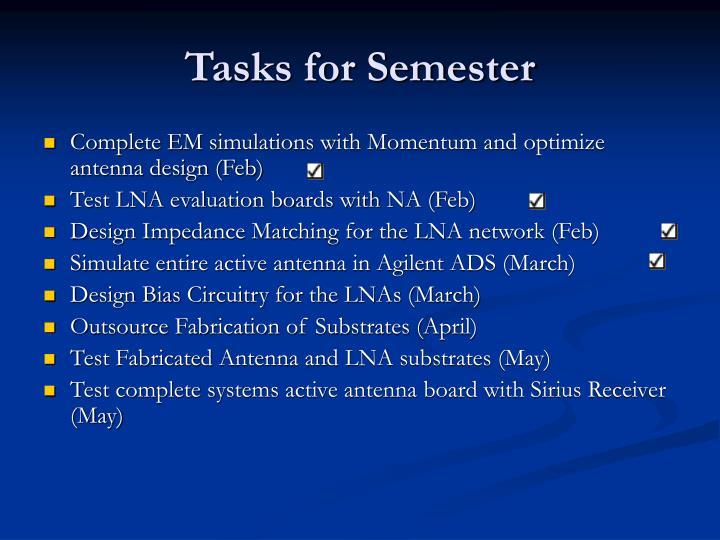 Tasks for Semester