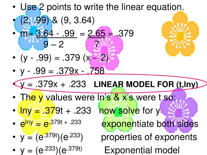 Use 2 points to write the linear equation.