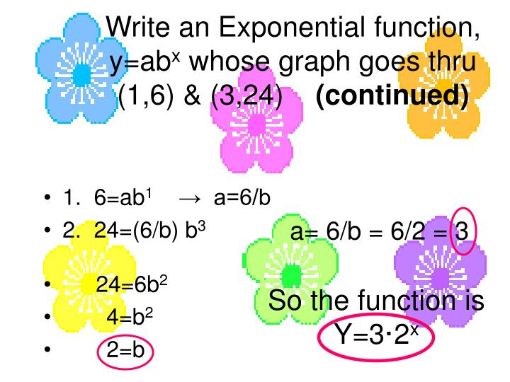 Write an Exponential function, y=ab