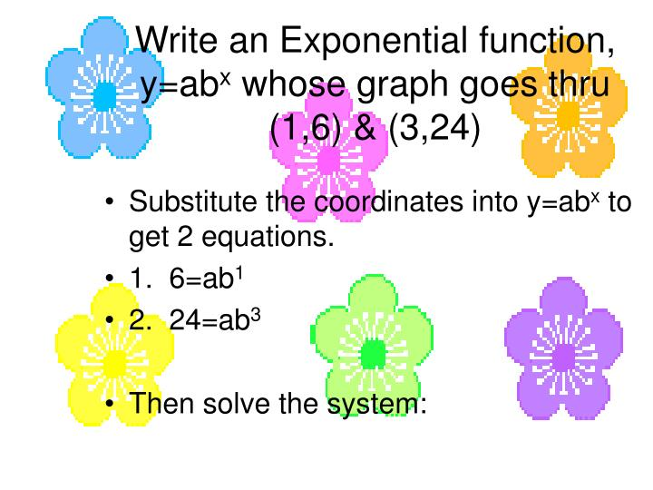 Write an exponential function y ab x whose graph goes thru 1 6 3 24