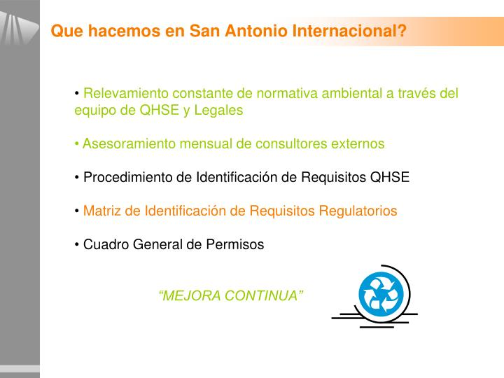 Que hacemos en San Antonio Internacional?