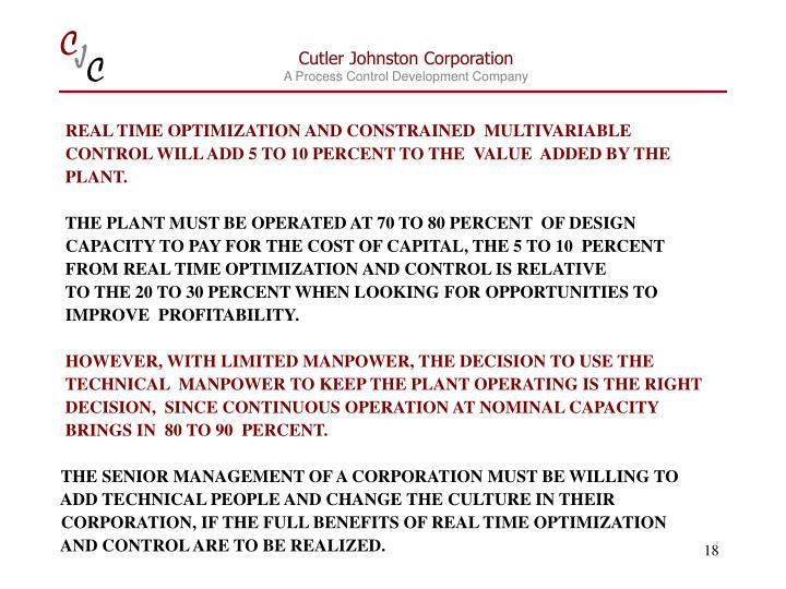 REAL TIME OPTIMIZATION AND CONSTRAINED  MULTIVARIABLE