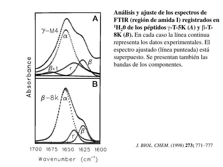 Análisis y ajuste de los espectros de FTIR (región de amida I) registrados en