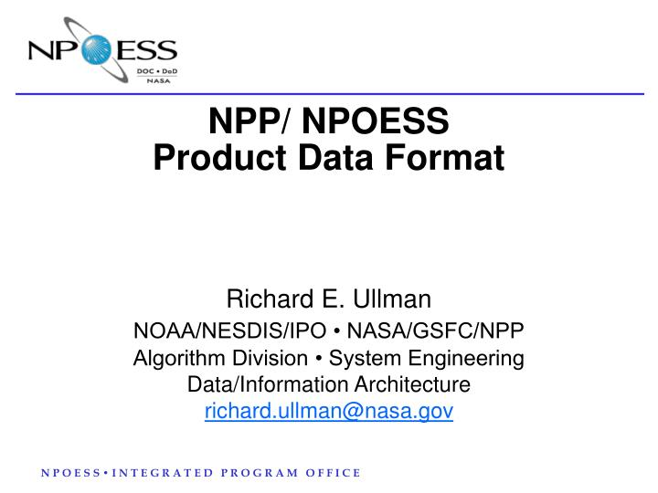 Npp npoess product data format