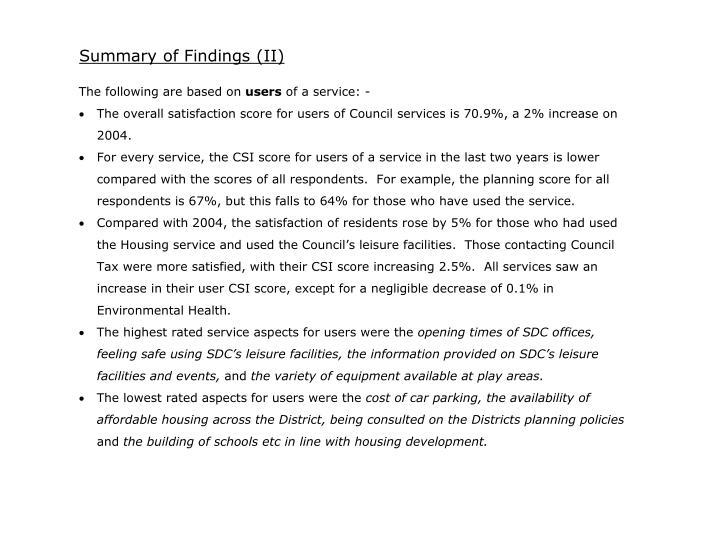 Summary of Findings (II)