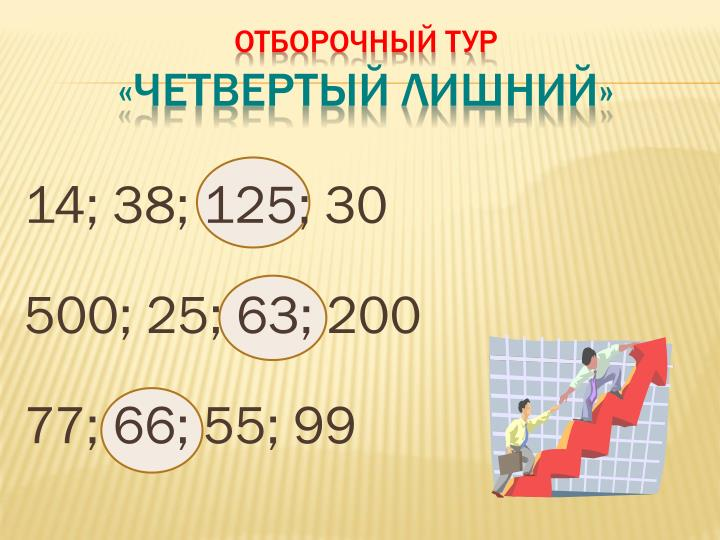 14; 38; 125; 30