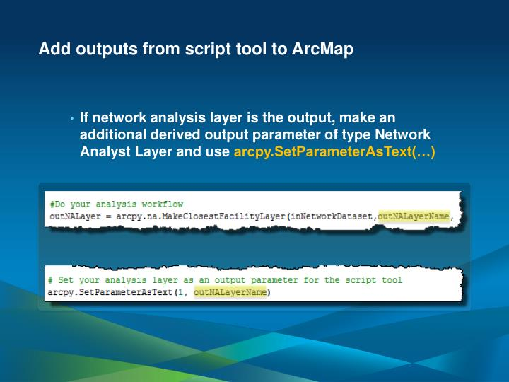 Add outputs from script tool to ArcMap