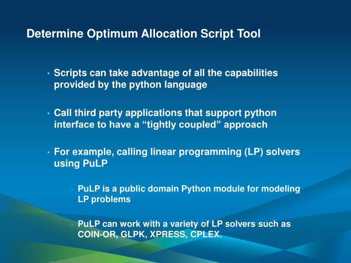 Determine Optimum Allocation Script Tool