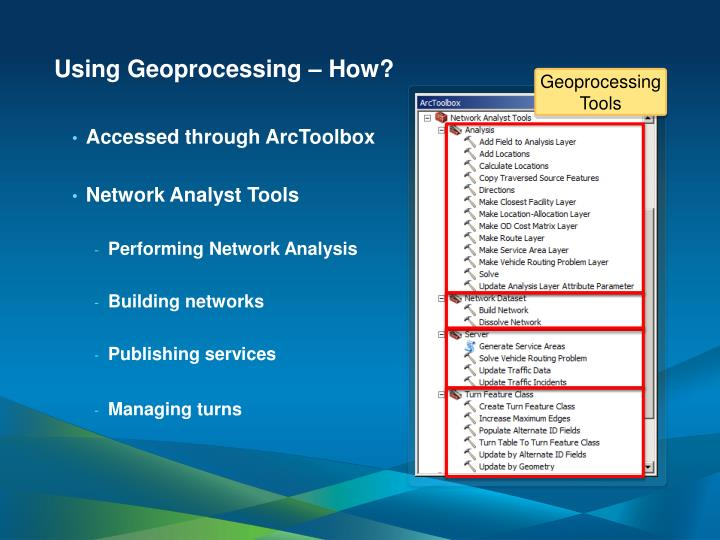 Using Geoprocessing – How?