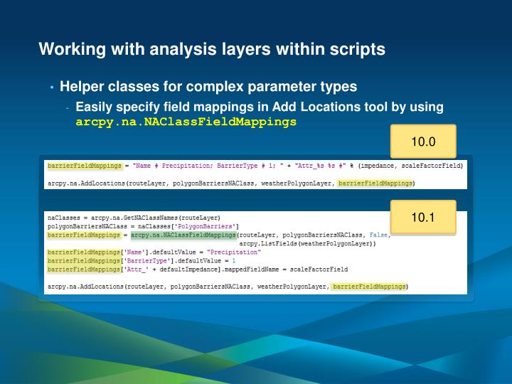 Working with analysis layers within scripts