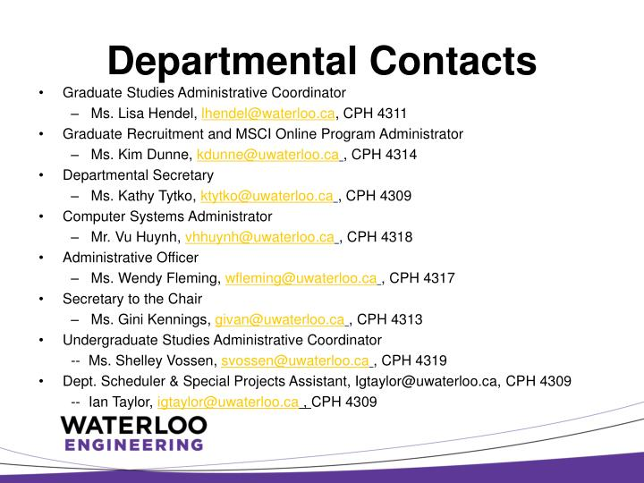 Departmental contacts1