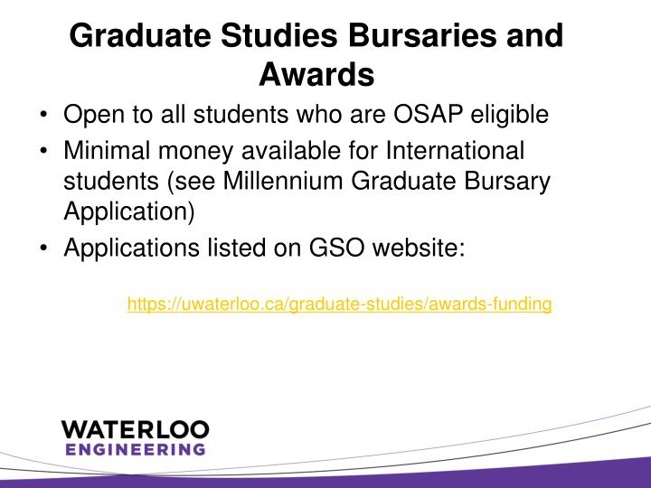 Graduate Studies Bursaries and Awards