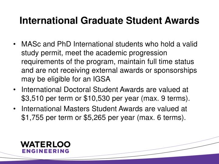 International Graduate Student Awards