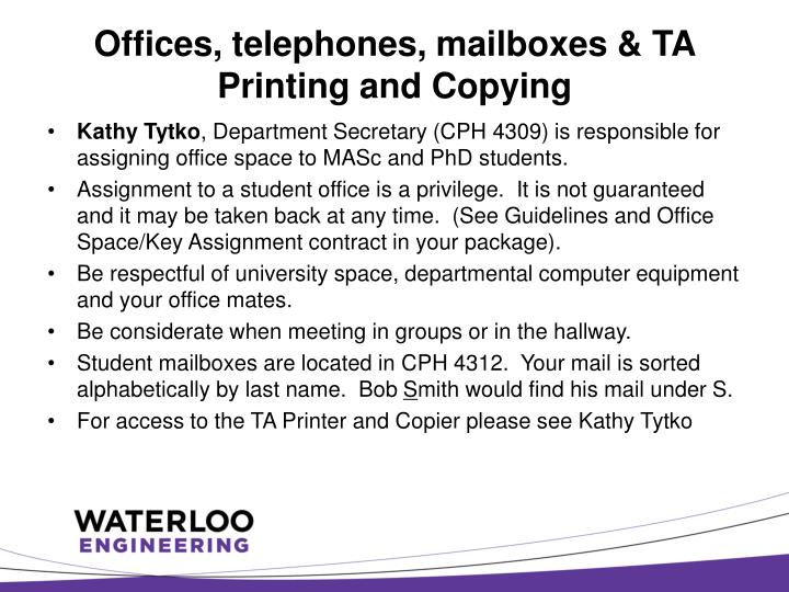 Offices, telephones, mailboxes & TA Printing and Copying
