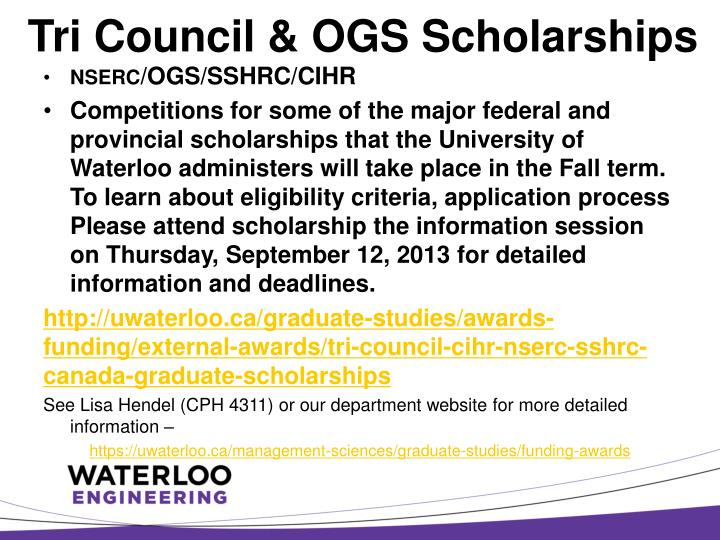 Tri Council & OGS Scholarships