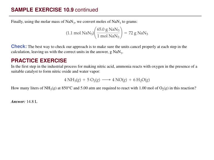 SAMPLE EXERCISE 10.9