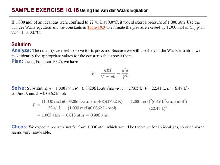 SAMPLE EXERCISE 10.16