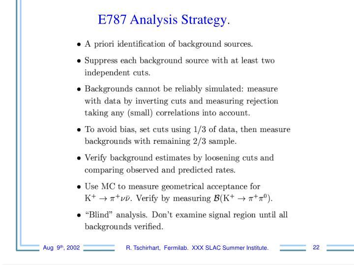 E787 Analysis Strategy