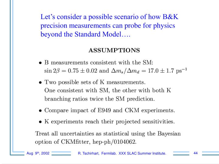 Let's consider a possible scenario of how B&K precision measurements can probe for physics         beyond the Standard Model….