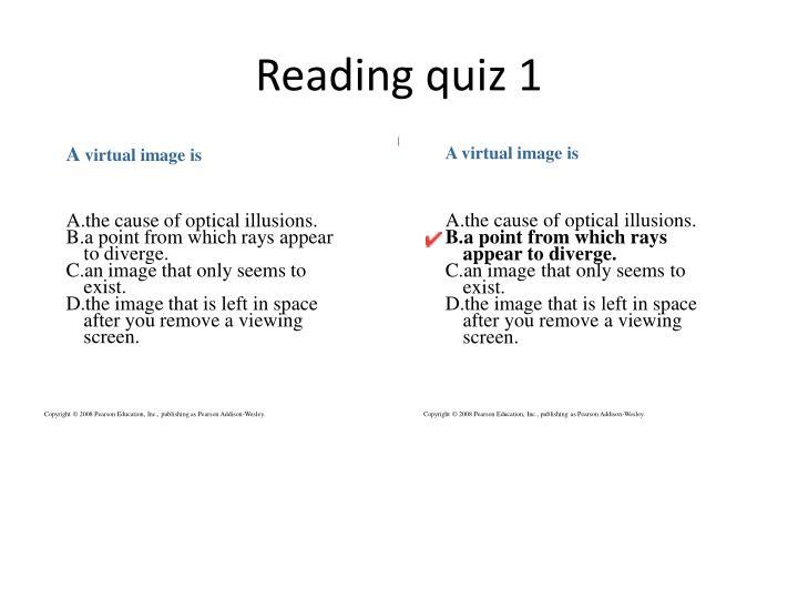Reading quiz 1