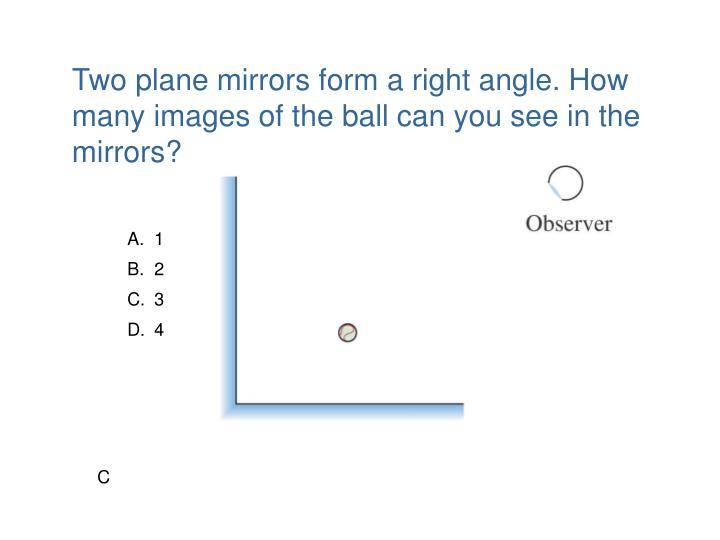 Two plane mirrors form a right angle. How many images of the ball can you see in the mirrors?
