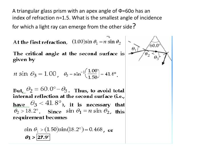 A triangular glass prism with an apex angle of Ф=60o has an