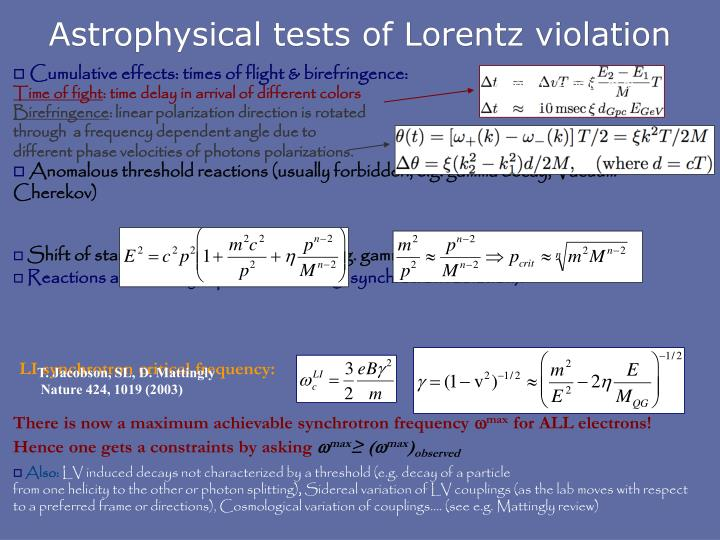Astrophysical tests of Lorentz violation