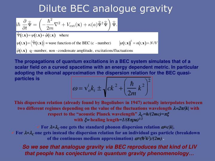 Dilute BEC analogue gravity