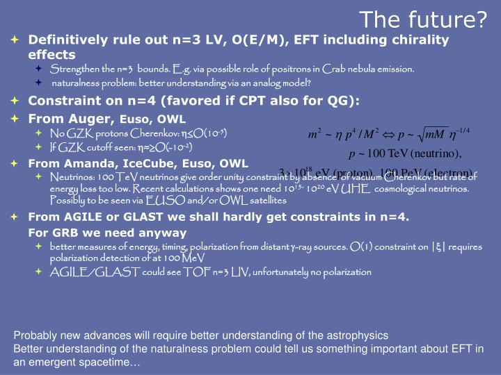 Definitively rule out n=3 LV, O(E/M), EFT including chirality effects