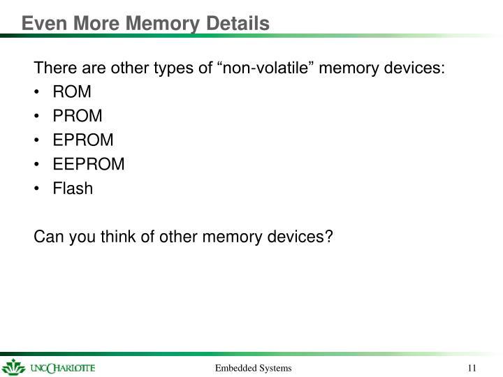 Even More Memory Details