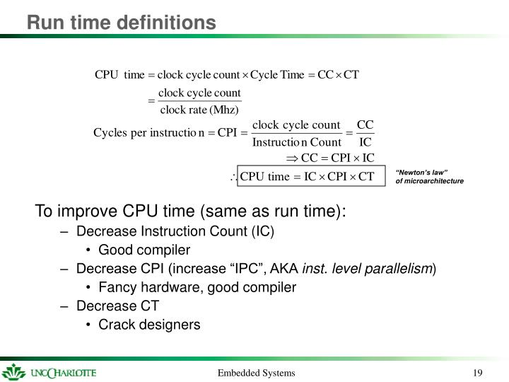 Run time definitions