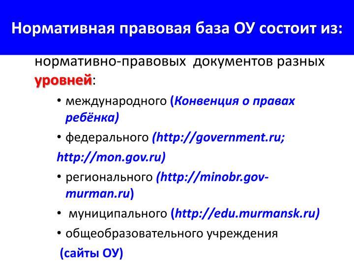 Нормативная правовая база ОУ состоит из: