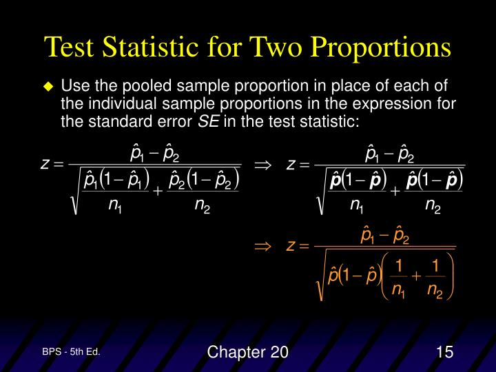 Test Statistic for Two Proportions