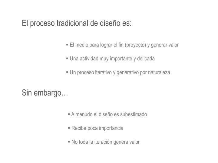 El proceso tradicional de diseño es: