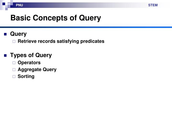 Basic concepts of query