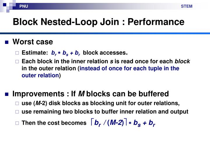 Block Nested-Loop Join : Performance