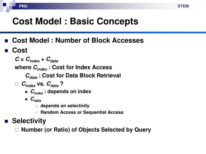 Cost Model : Basic Concepts