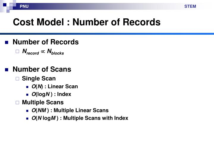 Cost Model : Number of Records