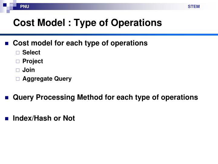 Cost Model : Type of Operations