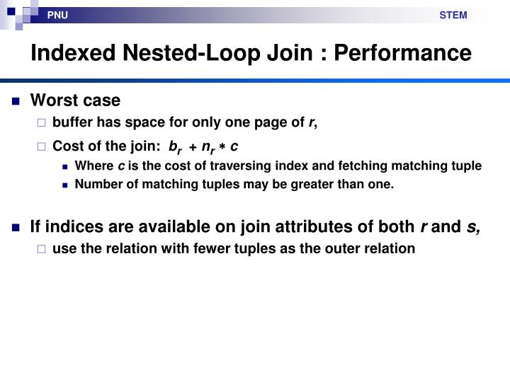Indexed Nested-Loop Join : Performance