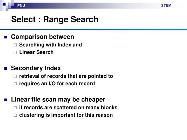 Select : Range Search
