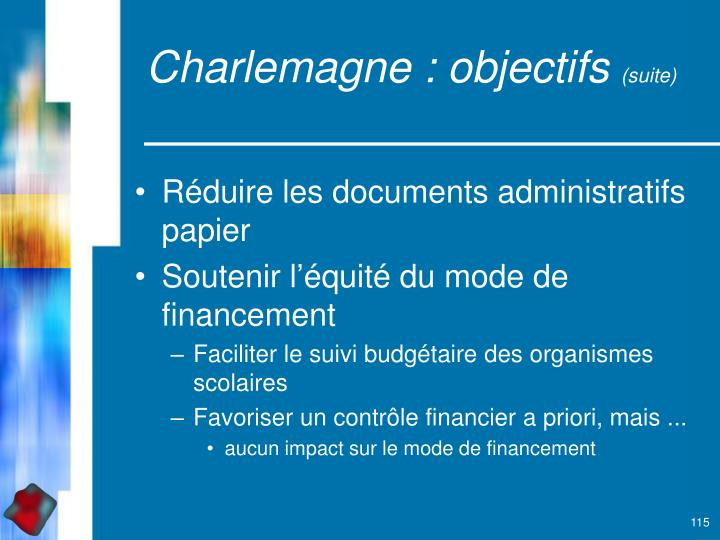 Charlemagne : objectifs
