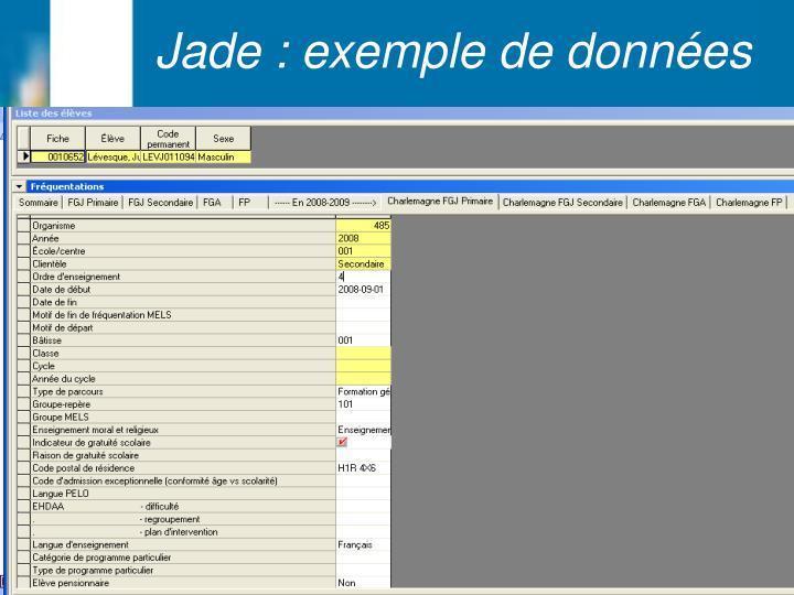 Jade : exemple de données