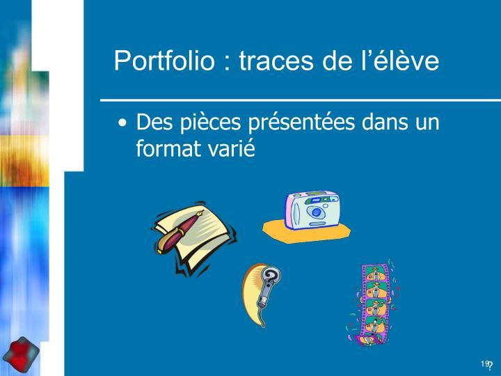 Portfolio : traces de l'élève