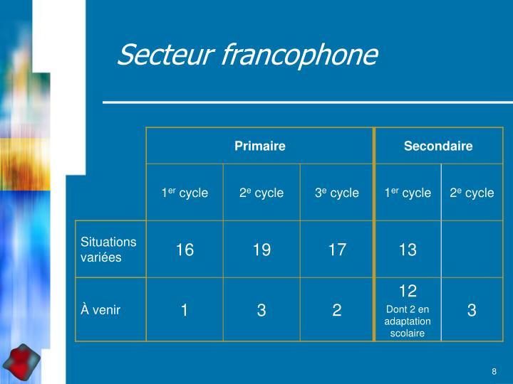 Secteur francophone