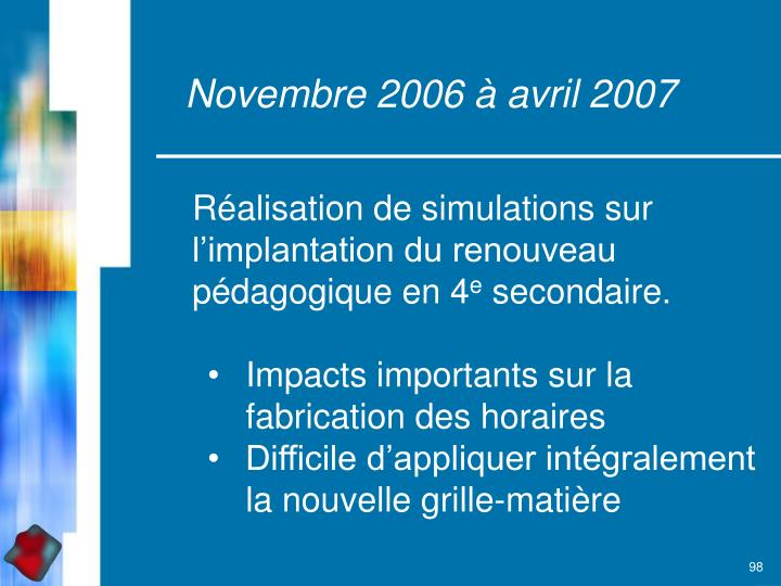 Novembre 2006 à avril 2007