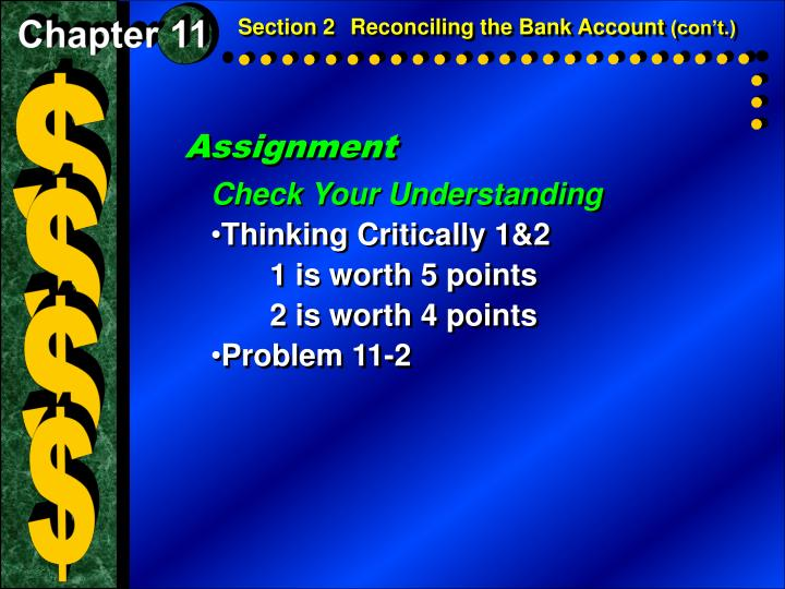 Section 2Reconciling the Bank Account