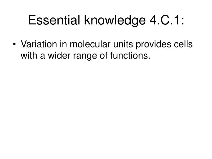 Essential knowledge 4.C.1: